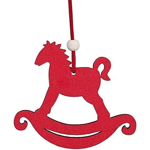 62386L Clayre & Eef - pendente decorativo - Cavallino a dondolo - Rosso ca. 10 x 8 cm