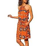 NPRADLA Leisure Women Summer Sleeveless Printed Elastic in Vita Pocket Casual Beach Mini Dress Sconto Primavera Estate 2019