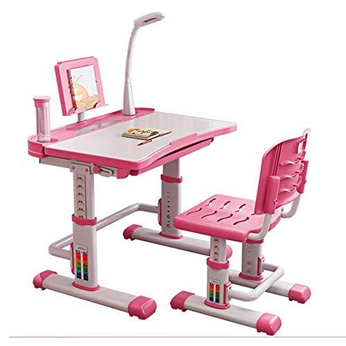 Tische Stühle Verstellbare Höhe Kinder Studie Deluxe Funktional Schultisch, Junior Mädchen Jungs Lampe Bücherregal CJC (Farbe : Rosa, größe : 70cm) - Pink Kaffee-tisch-bücher