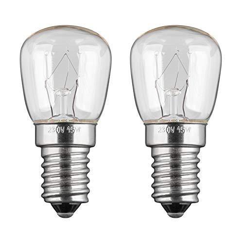 2x Kühlschranklampe | 15W | E14 | 230V | 2200 K | warm-weiß | Birne Lampe Glühbirne Glühlampe Leuchtmittel für Kühlschrank Kühlschrankglühbirne | warmweiß | 2 Stück