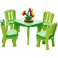 Happy Cherry Puzzle 3D de Encajar Rompecabezas Encajable Juguete Educativo DIY Modelo Manualidades Juego para Niño Niña - Mesa y Sillas de Sala de Comedor