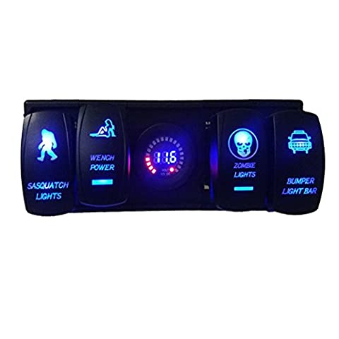 Car Auto Boat Switch–Kingwo Voltmeter 12V LED Digital Display Volt Meter and Laser Rocker Switch with Rocker Switch Work Plugs with housing panel holder for car boat Truck