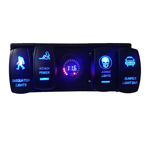 Auto Auto Boot Schalter - Kingwo Voltmeter 12V Led Digital Display Voltmeter und Laser Wippschalter mit Wippschalter ARB Stecker mit Gehäuse Halter Panel für Auto Boat Truck RV