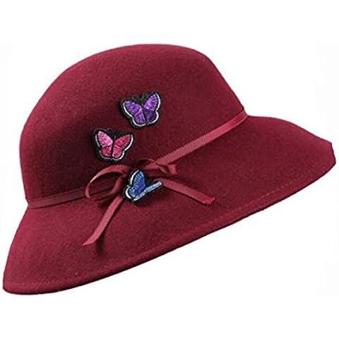 WE&ZHE Sombrero de fieltro de lana mujer moda de jugador de bolos de borde ancho Retro gorra mariposa decorar bordados otoño e invierno ,
