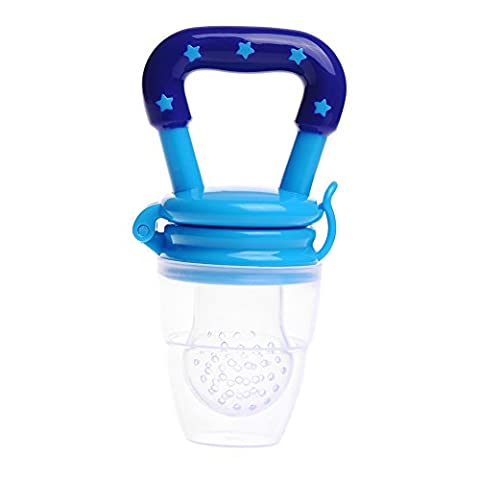 Cute Baby Infant Food Fruits Soft Bite Nipple Feeder Pacifier Feeding Tool Silicon Teat Blue
