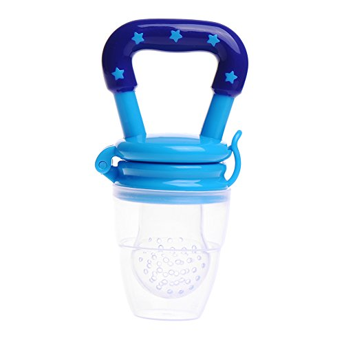 Per 1Pcs Lovely and Practical Soother Food / Fruits Feeder Baby Teether Baby Soother (M, Blue)