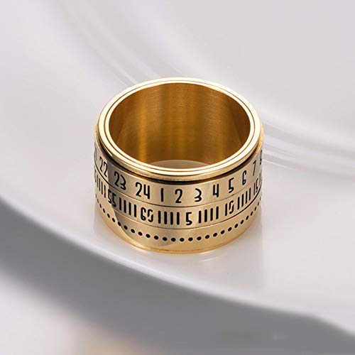 SHENGNONG Retro breiter drehbarer arabischer Zahl-Taktgeber-Zeit-Titanstahl-Band-Ring, Gold und Schwarzes