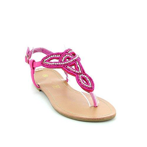 Sandales plates à strass Rose