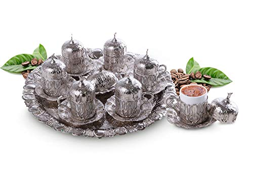 Kaffeeset Mokkaservice Set Türk Kahve Seti mit 6 Tassen in Silber Osmanisch