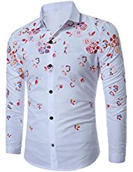 Tefamore Hommes Casual Slim Fit manches longues Chemises Tops