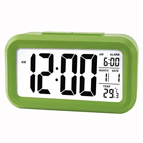 5.3' Digital Despertador Reloj Coolzon LCD Alarma Despertador Función Snooze Sensor de Luz Tiempo Fecha Temperatura, Verde
