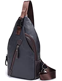FREEMASTER Mochila de hombro para hombre, estilo vintage, piel sintética, se puede llevar sobre el pecho, ideal para hacer senderismo, pequeño tamaño, moderna, Blue A Grande