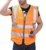 Irady Unisex Hohe Sichtbarkeit Warnweste Reflektierende Weste Sicherheitsweste mit Vier Vornen Taschen Reißverschluss - Größe L (Orange)