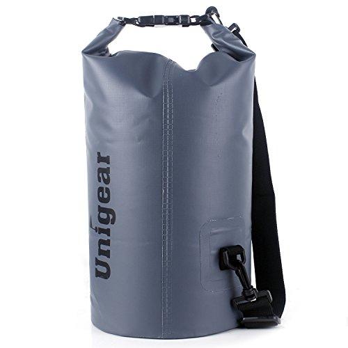 Sacco Dry Bag Borse Impermeabile, Dry Bag Galleggiante può Essere Usato per la Navigazione, Trekking, Kayak, Canoa, Pesca, Rafting, Nuoto, Campeggio, Sci e Snowboard con Omaggio Gratuito di Una Custodia Telefono Impermeabile Universale (Grigio, 30L)