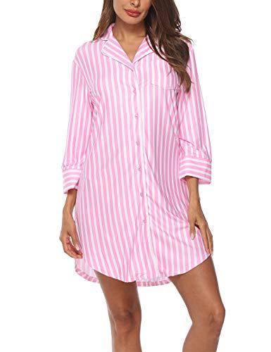 Lalala camicie da notte donna comodo a righe camicia da notte manica corta scollo a v rosa,xl