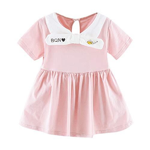 POPLY Blusenkleid Niedlichen Kleinkind Kind Baby Mädchen Kurzarm Gestreift Gedruckt Tops Sommerkleid Party Prinzessin Minikleid ()