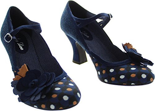LADIES RUBY SHOO DEE NAVY SPOTS TWEED VEGAN VINTAGE INSPIRED RETRO SHOES-UK 8 (EU 41) - 2