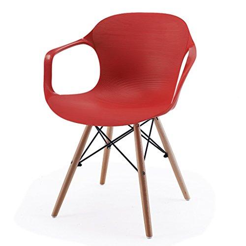 CKH Home Stuhl Esszimmerstuhl Moderne Freizeit Stühle Rückenlehne Kunststoffstuhl Einfache US Stühle Rot (Home-blut-test)