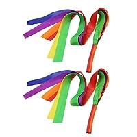GOUPPER 2pcs Rainbow Dance Ribbon Children Toy Gym Ballet Streamer Cheerleading Props Children
