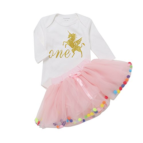 IEUUMLER Baby Mädchen Kleidung Set 2 Stück Romper Rock,Tütü Pettiskirt 1. Geburtstag Geschenk Outfits Verkleidung IU-A (9-12M) (Stück Baby-mädchen-kleidung 2)