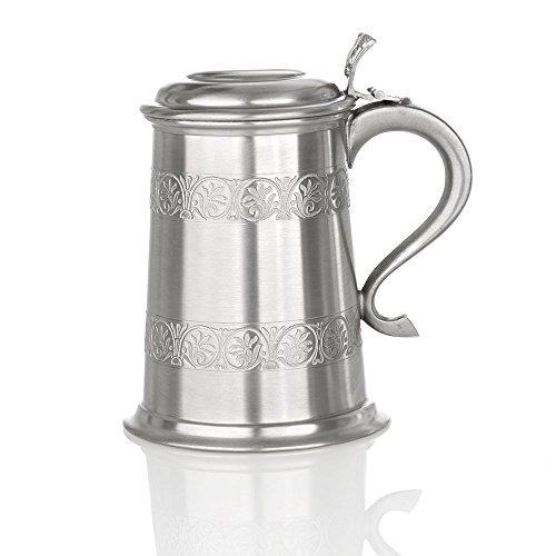 Eburya Medieval Tankard - Mittelalterlicher Zinn Bierkrug mit Deckel - Handgefertigt in England - Mit Metall-krug Deckel