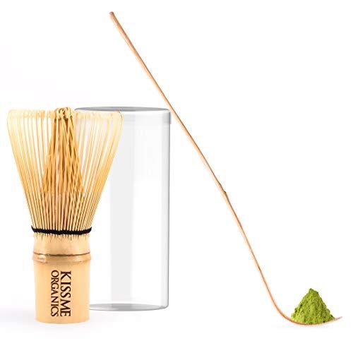 Kiss Me Organics Matchaset – Für Eine Tasse Matcha Nach Traditioneller Art – Bambuszubehör – Bambusschneebesen Und Schaufel Für Das Echte Japanische Teepulver