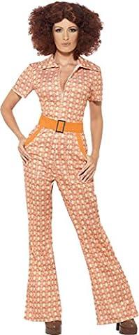 Damen-Retro-Kostüm /-Overall, 70er-Jahre-Stil, authentisches Design, Hippie-/ Disco-Stil, orange (70er Jahre Disco-kostüme Für Kinder)