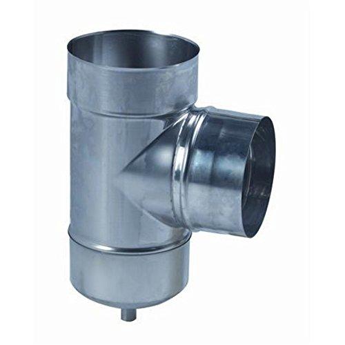 Té 90° de tubage avec purge, spécial Super Ten Liss Inox 316 diamètre : 125/131 Gaz / Fioul Réf. 885125
