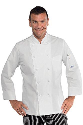 Isacco - Veste blanche de cuisine pas cher coupe slim 100% coton Blanc