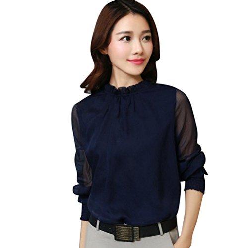 Blouses Femme Chic Chemisiers Longra Chiffon T-shirts Tops à manches longues Haut Rétro Élégant Vintage Mi saison Blouses Officier Femme Originaux Bleu