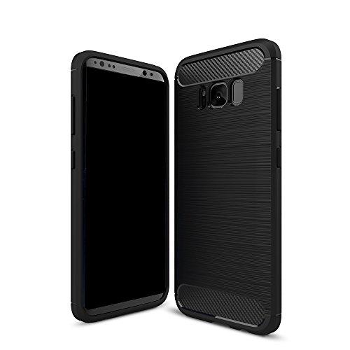 EKINHUI Case Cover Dünne und Leightweight gebürstete Carbon Fibre robuste Rüstung Rückseitige Abdeckung Stoßstange Fall Stoßfeste Drop Resistance Shell Abdeckung für Samsung Galaxy S8 Plus ( Color : B Black