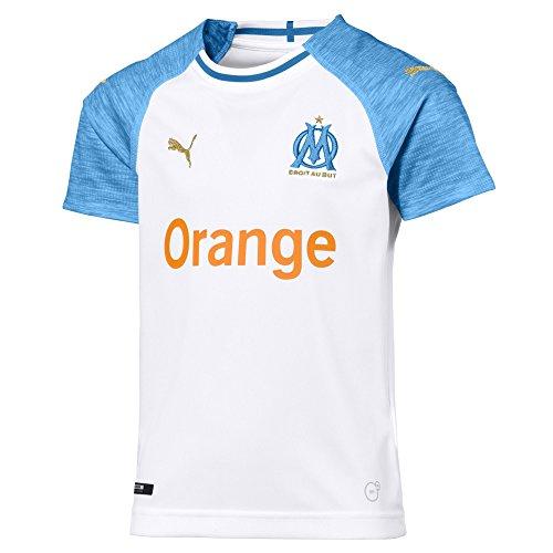 Puma Olympique de Marseille Home Shirt Replica SS Kids Maillots Mixte Enfant, Blanc (White/Bleu Azur), 152