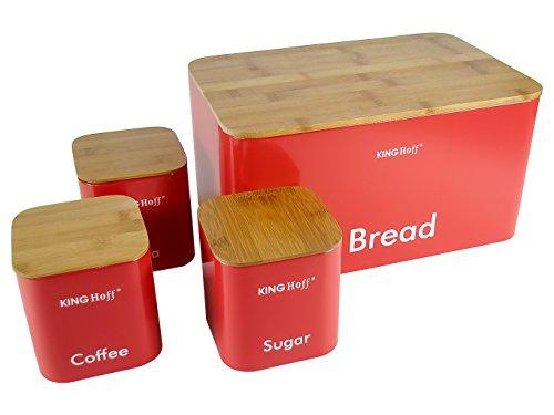 Top qualité Set Thé Café & Sucre Bidon et élégant tendance Boîte à pain avec holzabdeckung (Planche à découper) Cuisine réservoirs Pots de rangement Verre Bambou Bois ROT