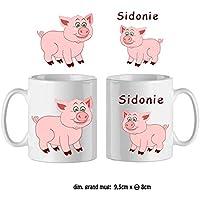 Texti-cadeaux-Mug Cochon-personnalisé avec un prénom exemple Sidonie