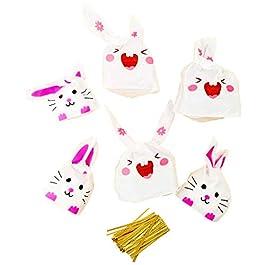 Sacchettini orecchie coniglio bustine porta confetti spuntini caramelle biscotti sacchetti bomboniere confettata per festa bambini compleanno pasqua Halloween