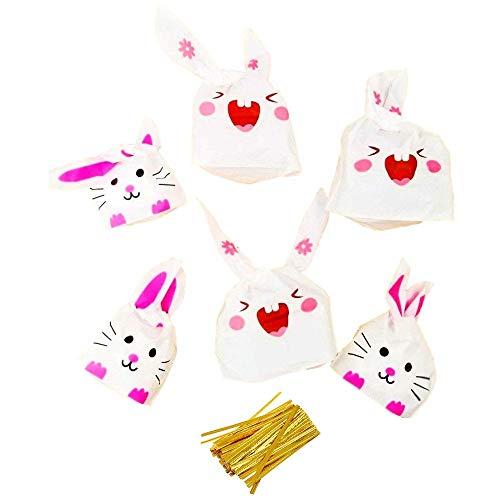 JZK 100 Hasen Emoji Lange Ohren Ostern Geschenktüten Biscuit Geschenk Taschen Partytüte Mitgebseltüten für Ostern Hochzeit Geburtstag Taufe Party
