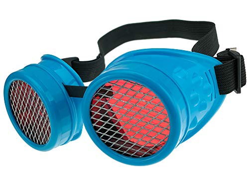 Gafas de Sol Welding Cyber Goggles Steampunk Goth Cosplay Sunglasses Round Glasses Party Fancy Dress MFAZ Morefaz Ltd (Blue Grid)