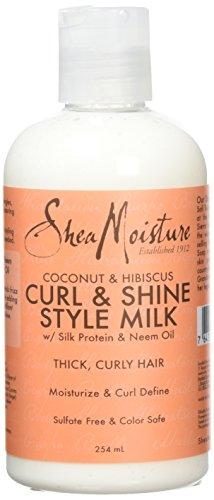 Shea Moisture - Latte lucidante e modellante per ricci, a base di cocco e ibisco, 254ml