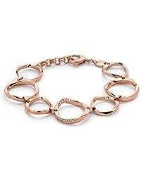 Fossil Damen-Armband Edelstahl rosé teilvergoldet Glas weiß JF0130079