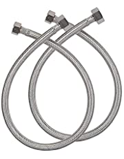 Pray 304 Grade Stainless Steel Straight Thread Faucet Hose Replacement Connection Pipe for Geysers (1/2-inch, 24-inch) - 2 Pieces