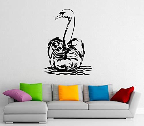 CECILIAPATER 15s01n Wandaufkleber, Motiv: Wasservögel, Schwan, Vinyl-Aufkleber, für Zuhause, Innendekoration, für Schlafzimmer oder Badezimmer -