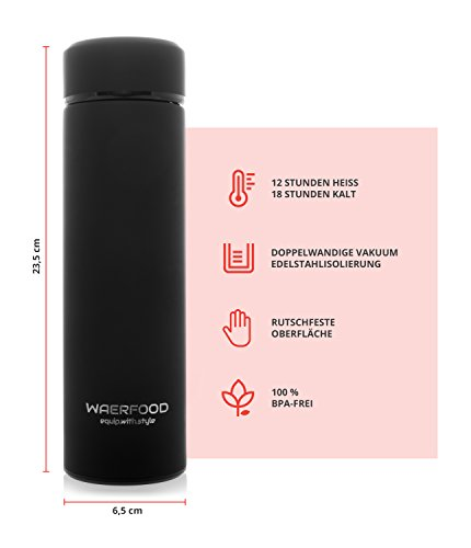 Thermoskanne WAERFOOD | Isolierkanne 500ml – BPA, BPS Frei | Edelstahl Thermosflasche Tee, Kaffee | Isolierflasche | Inklusive Teesieb | Trinkflasche Fitness, Yoga, Fahrrad - 5