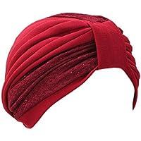 Casquillo de la Cabeza de la Mujer Que Cubre la Cabeza de la Toalla de Doble Color montado Arrugas Estilo Que Cubre la Cabeza Sombrero
