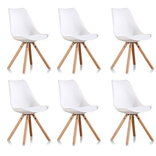 bf321b648afcd Designetsamaison Lot de 6 chaises scandinaves Blanches - Helsinki