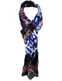 3fd3ab9162e53e TigerTie Chiffon Schal in blau lila schwarz weiß gemustert - Gr. 180 x ...