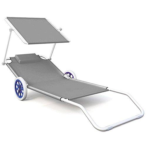 HENGMEI Liegestuhl Strandliege Sonnenliege mit Dach und Rädern, Klappsessel verstellbare Rückenlehne, 152 x 62 x 13 cm (Grau)
