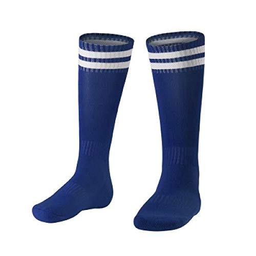 WADUANRUN Herren Stutzenstrumpf/ 3 Paare Kinderfußball Socken Strümpfe Schweiß absorbierende Slip Sportsocken Blau -