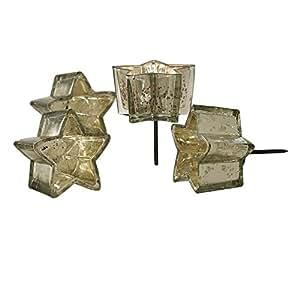 LOBERON Windlichter in Sternform 4er Set Bernice für Teelichter, mit Dorn zum Aufstecken, silber