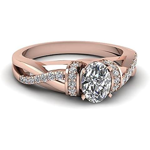 Solitario Look argento Sterling 925massiccio placcato oro rosa 14K ovale bianco CZ diamante elegante Twist Shank Anello Di Fidanzamento Per