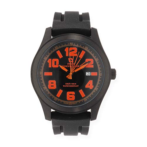4fe4324030d Swiss Mountaineer Mens Watch Black Silicone Rubber Band Easy Read Dial  Orange Numerals Date SM8041